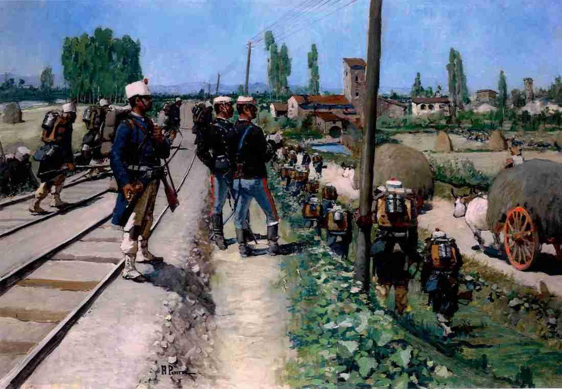 """Ruggero Panerai """"artiglieria in marcia"""" Il Soldato italiano 1965 Palazzo Barberino Roma"""