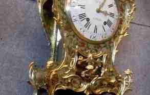orologio bronzo dorato, dipinto su legno, francia meta' 700