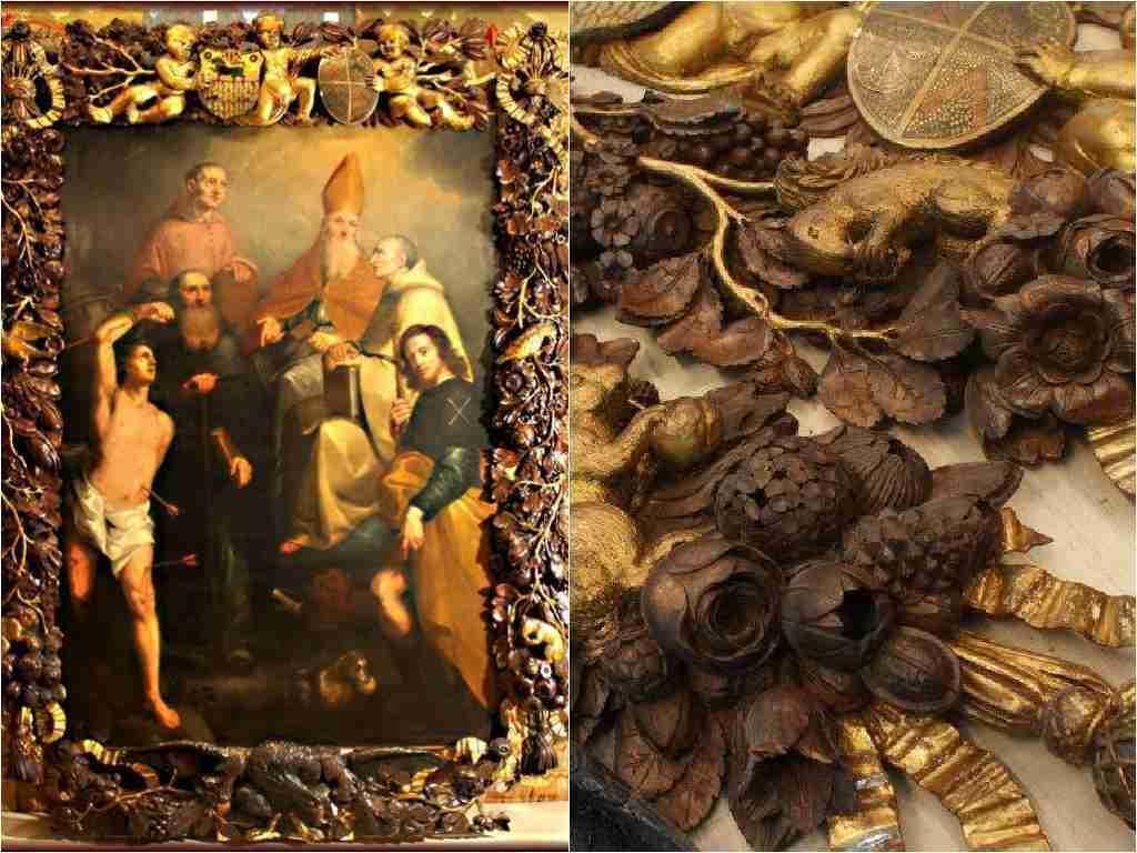 cornice inglese scolpita araldica e simbologia massonica