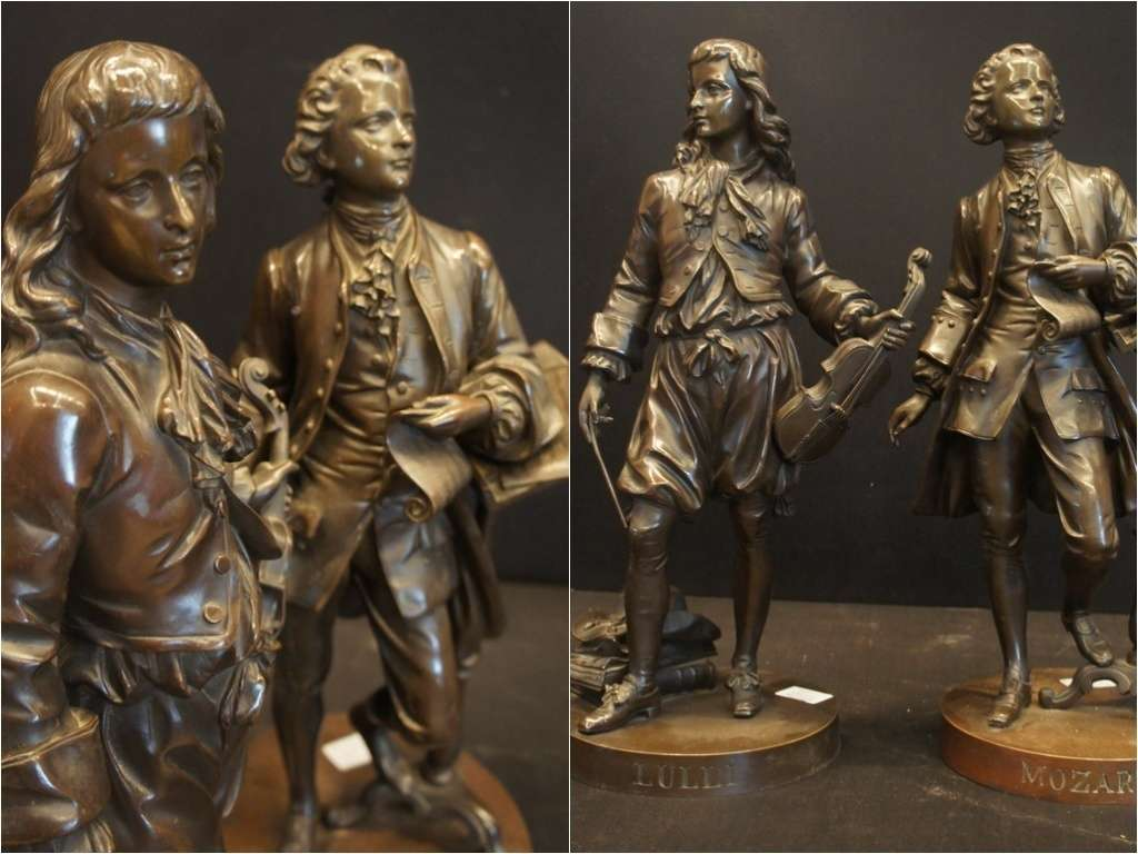 Sculture in bronzo raffiguranti Lulli e Mozart