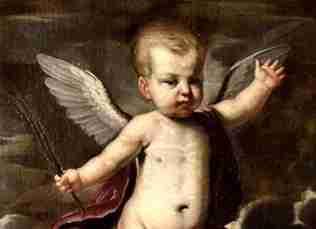 Dipinto olio su tela Giovanni Andrea Sirani Bologna  – raffigurante Cupido