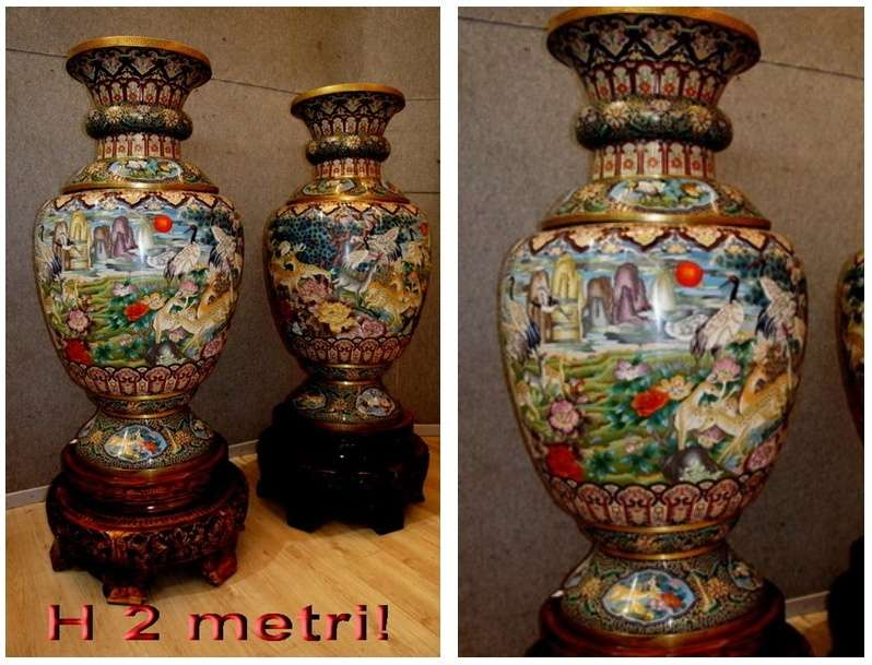 Antiques Sincere Coppia Di Vasi Cloisonné Other Asian Antiques