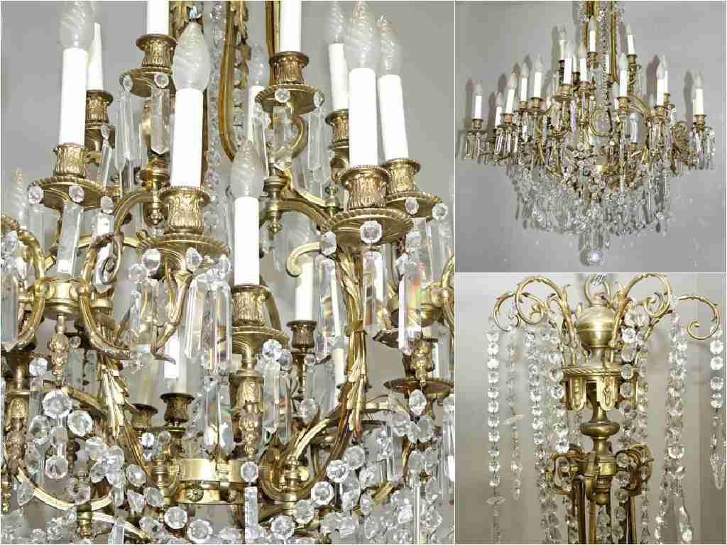Grande lampadario in bronzo dorato e cristallo