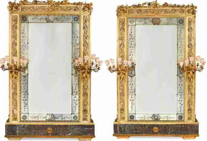 coppia di specchiere intagliate laccate e dorate genovesi