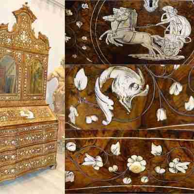 Trumeau mosso Luigi XIV  lombardo / veneto  lastronato radica noce intarsiato argento avorio