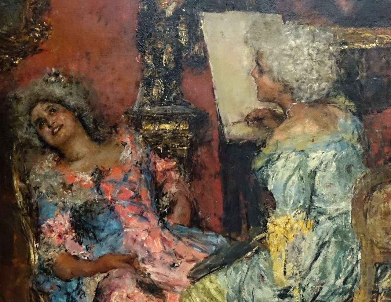 "Mancini Antonio Dipinto olio su tela; ""La Pittrice"""