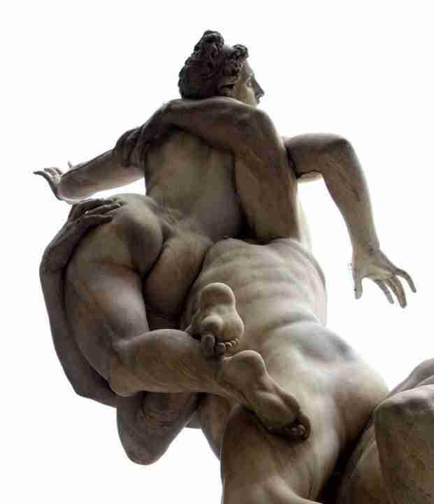 Dettaglio ratto Sabine Giambologna marmo