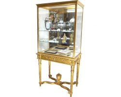 English Louis XVI bronze and gilded wood display cabinet