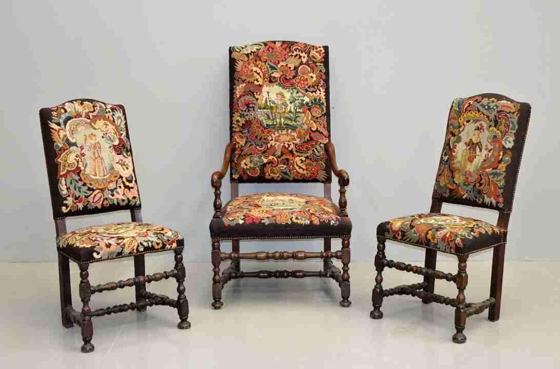 Coppia sedie e poltrona a rocchetto antiche – Gabriele Gogna
