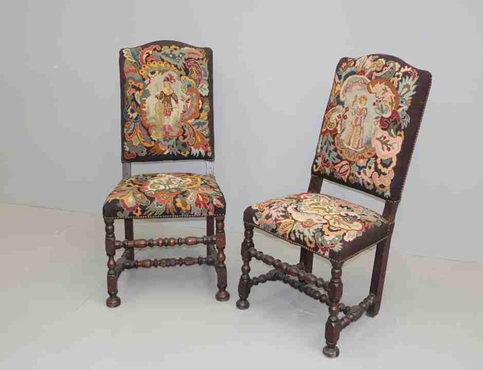 sedie rocchetto tessuto aubusson antico 1