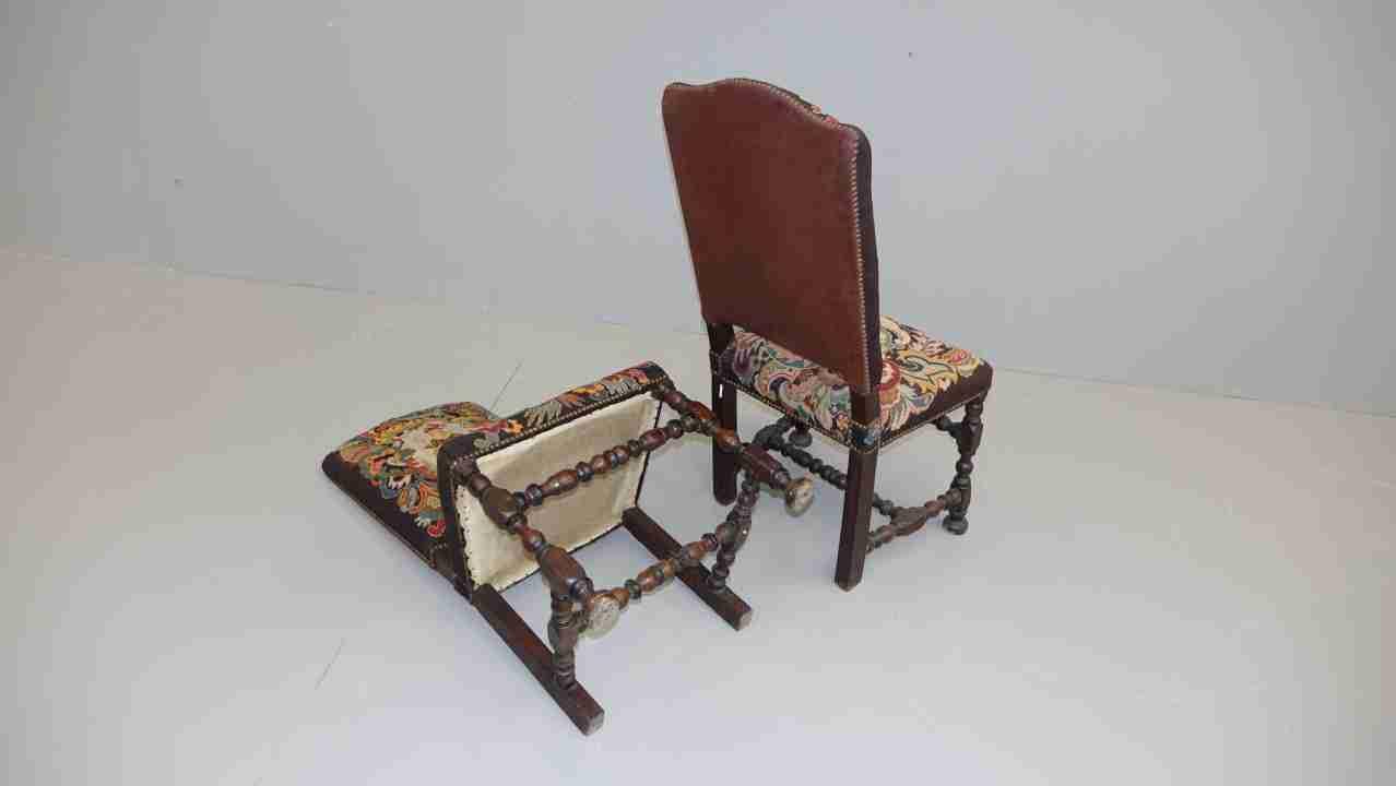 sedie rocchetto tessuto aubusson antico 14