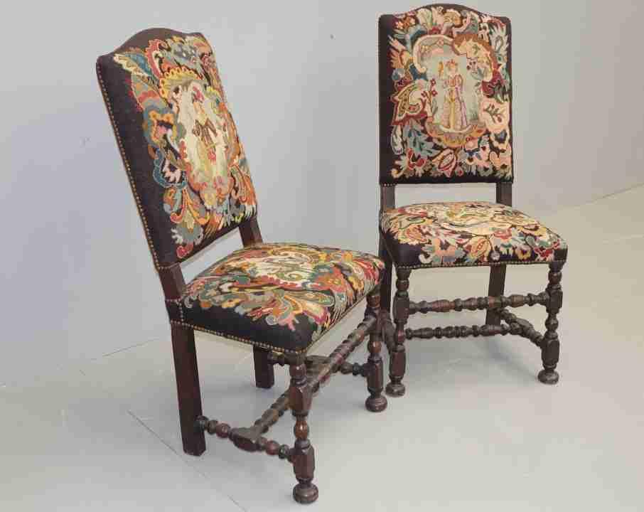 sedie rocchetto tessuto aubusson antico 2