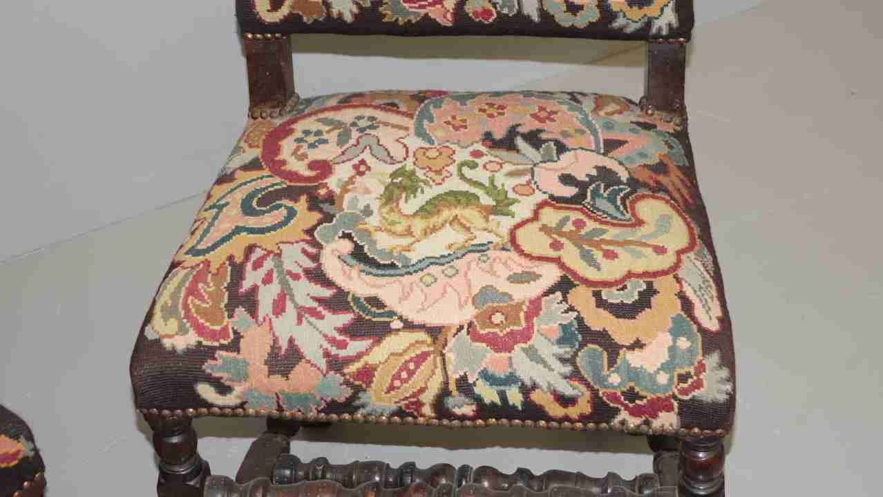 sedie rocchetto tessuto aubusson antico 7