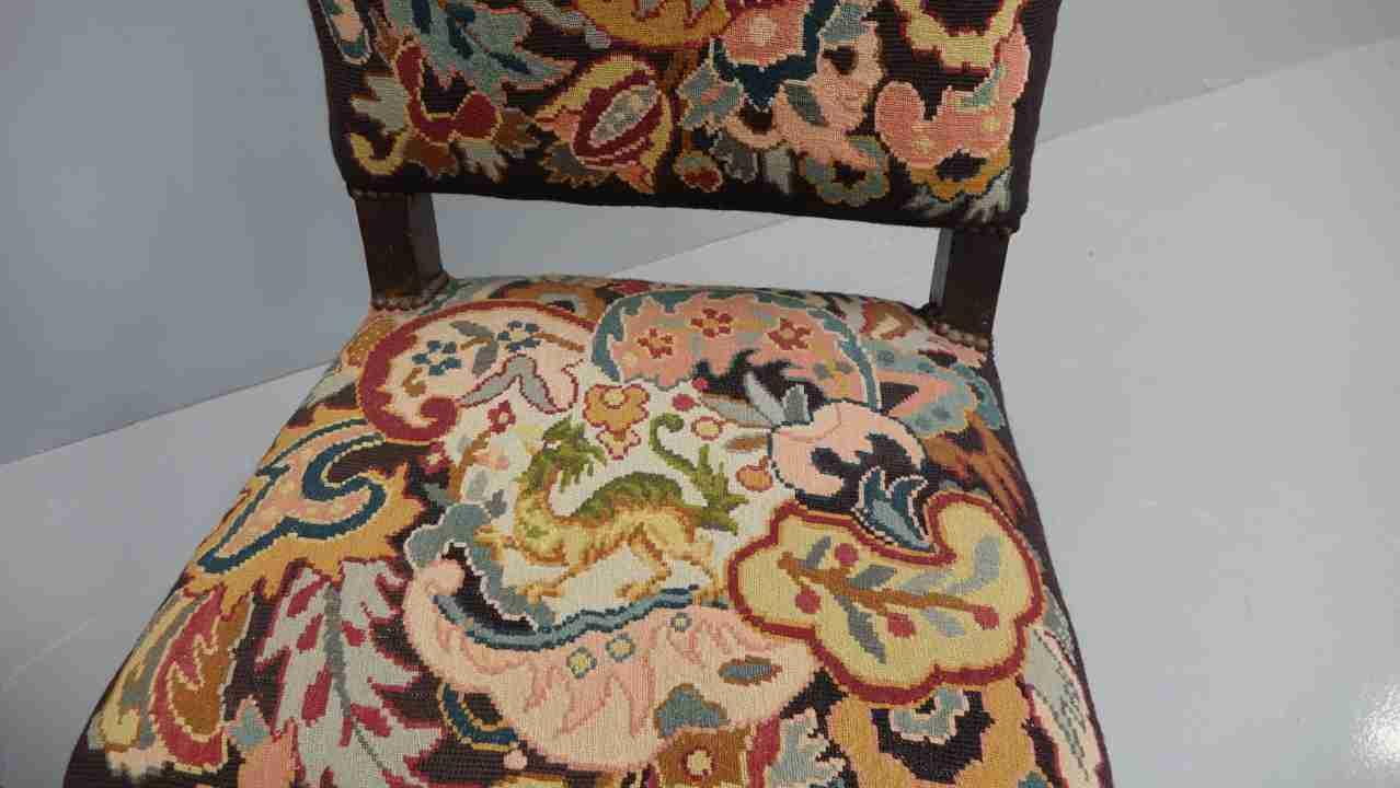 sedie rocchetto tessuto aubusson antico 8