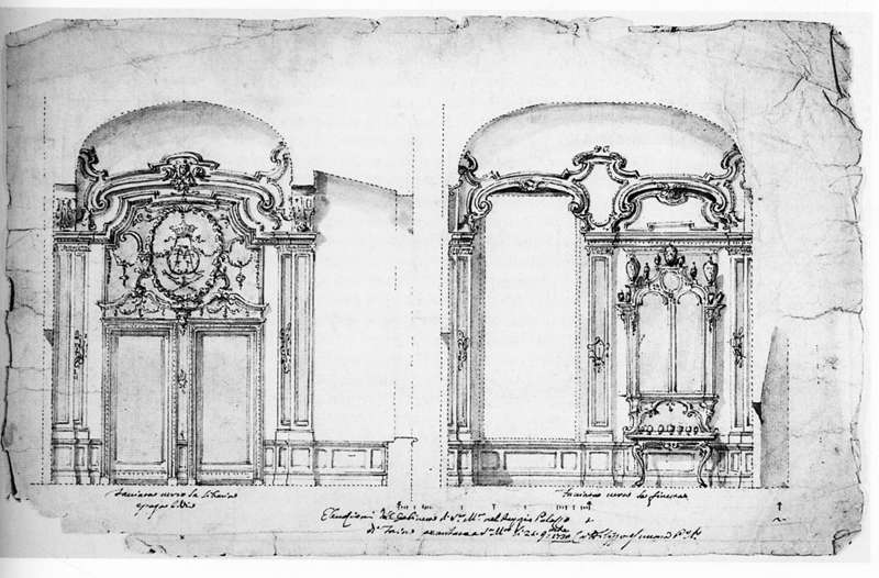 """Filippo Juvarra, progetto del """"Gabinetto per il segreto maneggio degli affari di stato"""", 1730. Fondazione Sella, Fondo Maggia (inv. n. 548)"""