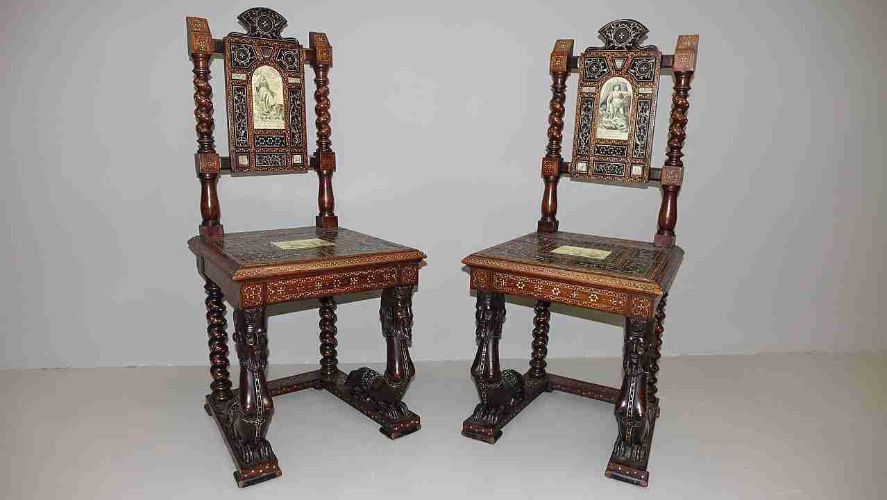 sedie intarsiati avorio 11