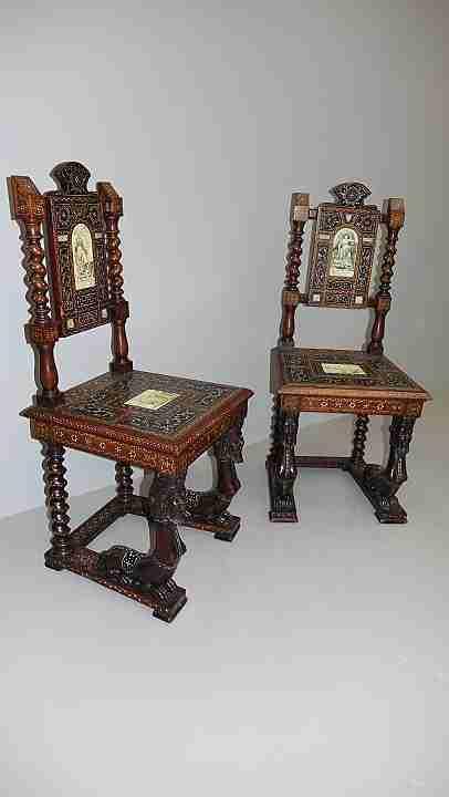 sedie intarsiati avorio 12
