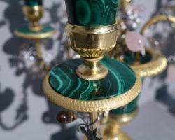 Candelieri bronzo dorato malachite cristallo di rocca - Claude Galle Paris