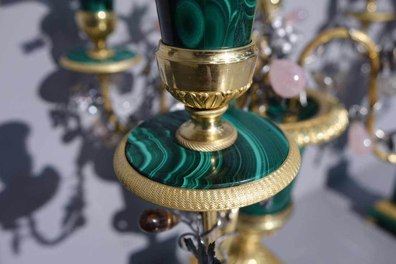 Malachite gilded bronze crystal rock candlesticks - Claude Galle Paris