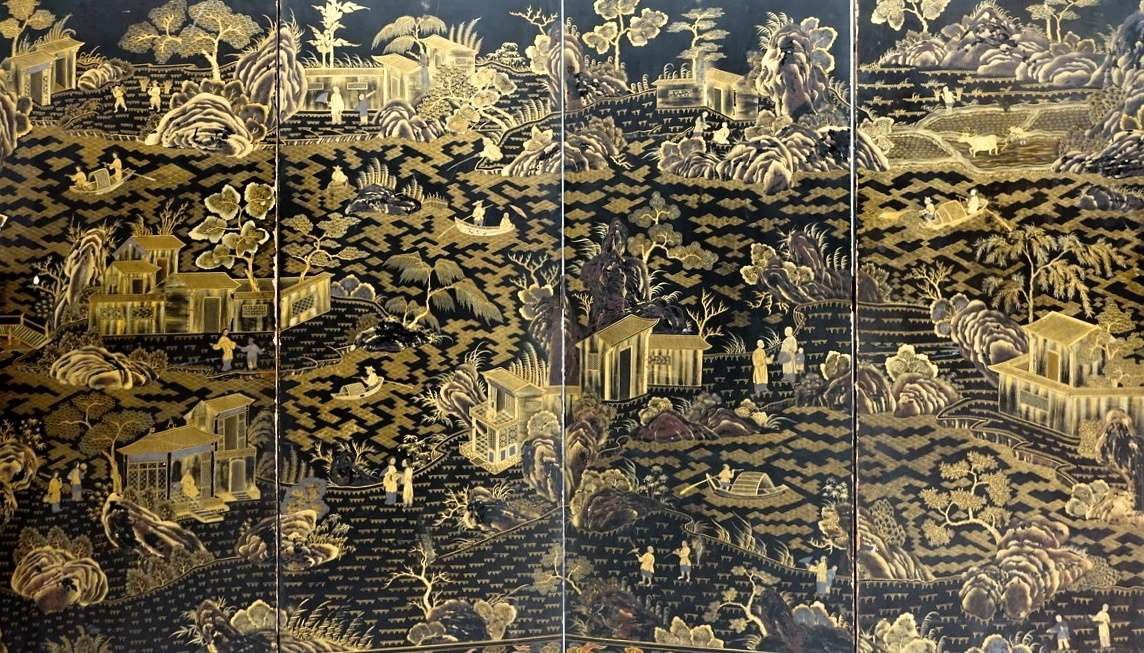 pannelli cinesi laccati e dorati paravento cinese finito sui due lati 0469002