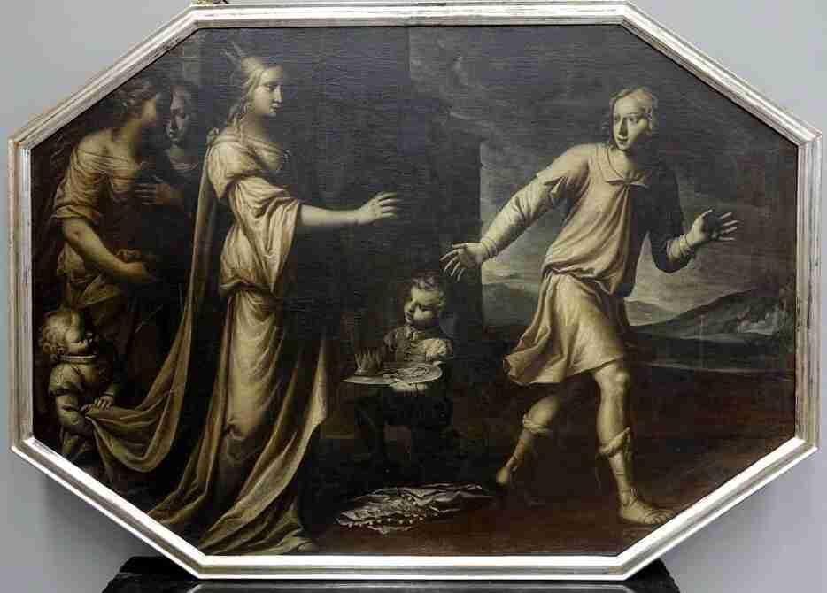 Dipinto Francesco Nuvolone olio su tela  rinuncia alla corona di Francia
