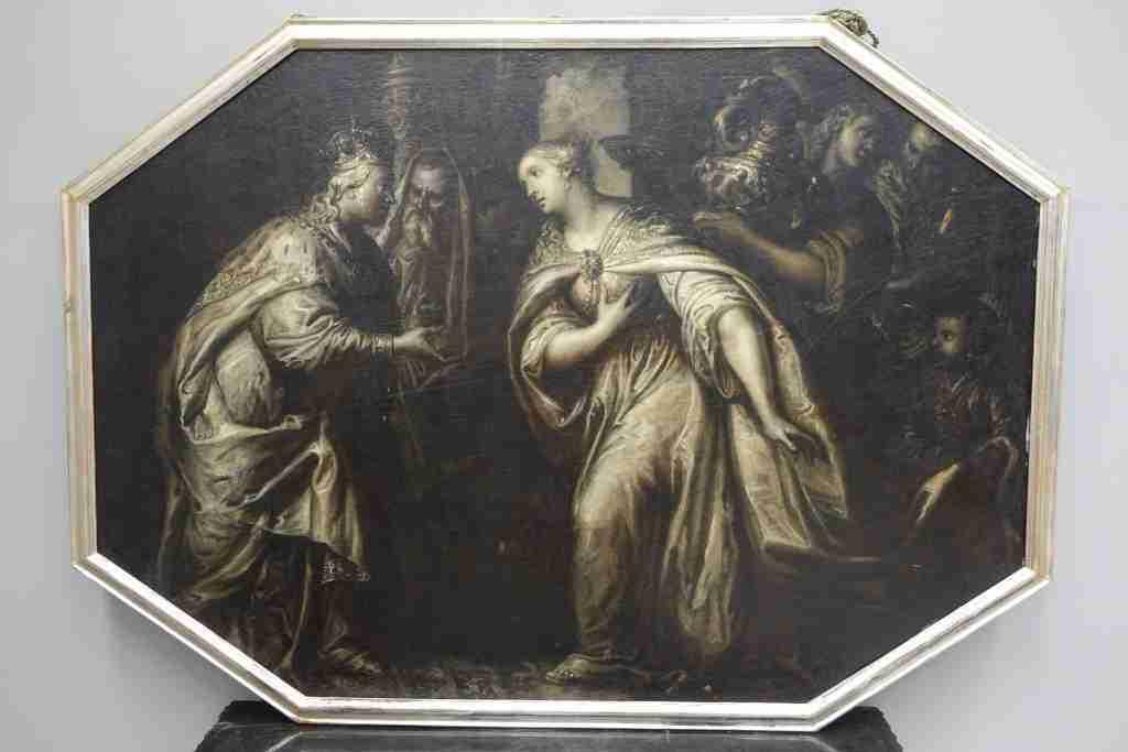 Dipinto Francesco Nuvolone olio su tela  Re Salomone e la Regina di Saba
