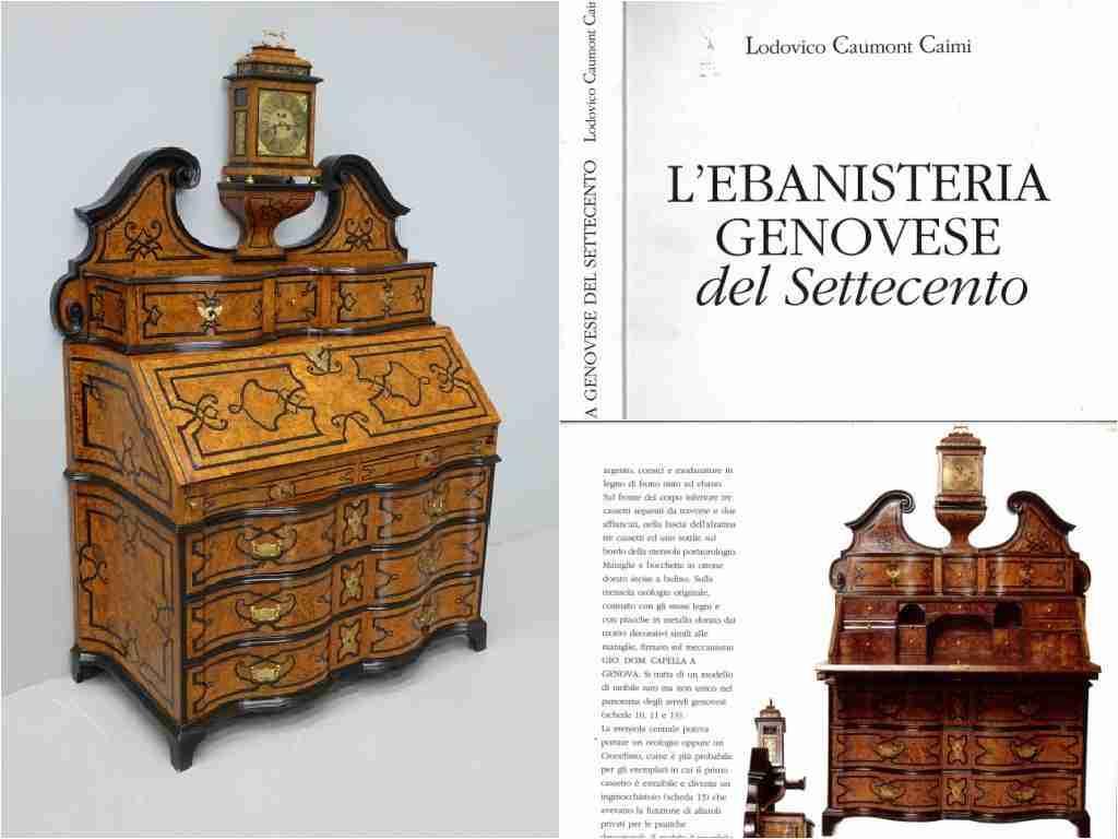 Bureau ribalta Genovese con alzata a timpano e orologio firmato Capella