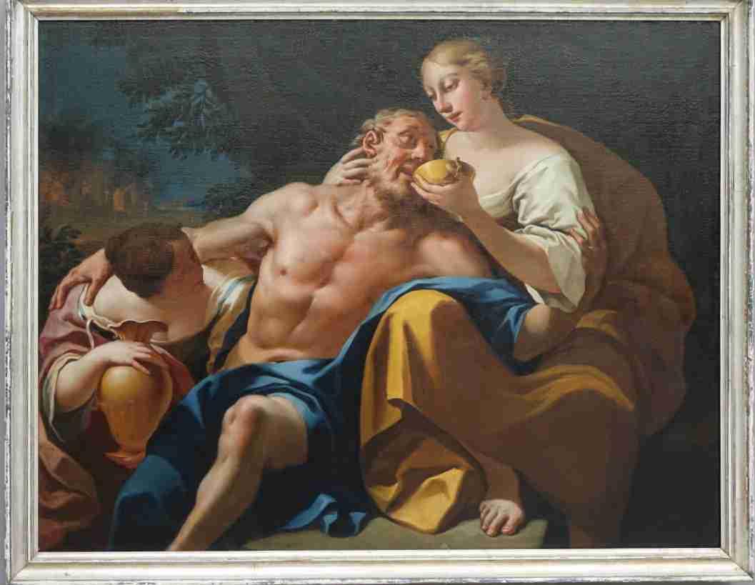 olio su tela di grandi dimensioni raffigurante lot e le figlie opera di Pietro Ligari