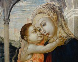 Dipinto olio su tavola madonna con bambino