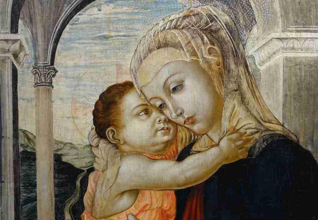 Dipinto olio su tavola madonna con bambino 1060032