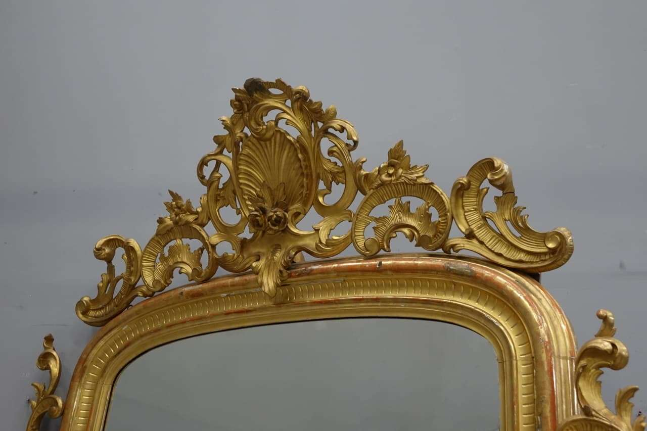 specchiera Luigi Filippo dorata foglia oro