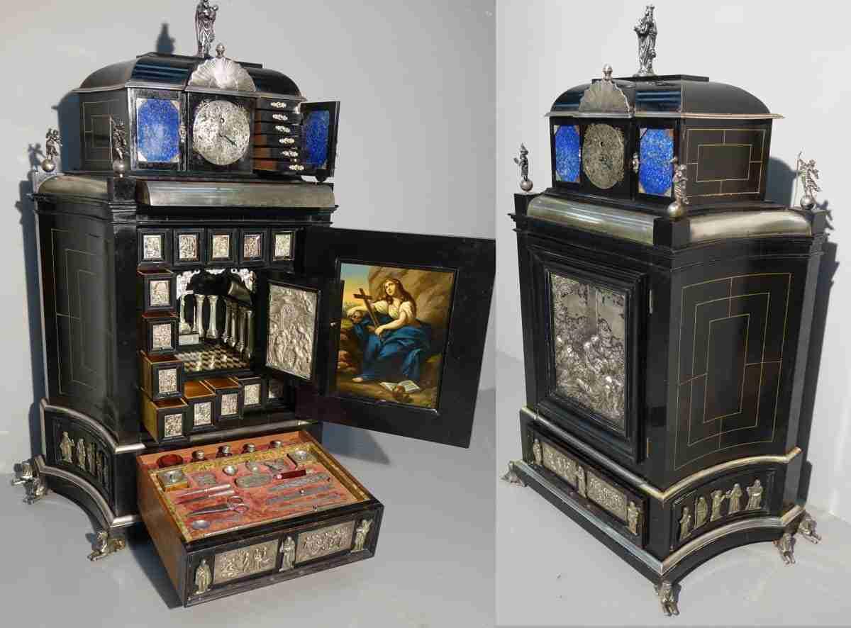 monetiere orologio altare da viaggio manifattura amburgo dipinto matteo loves