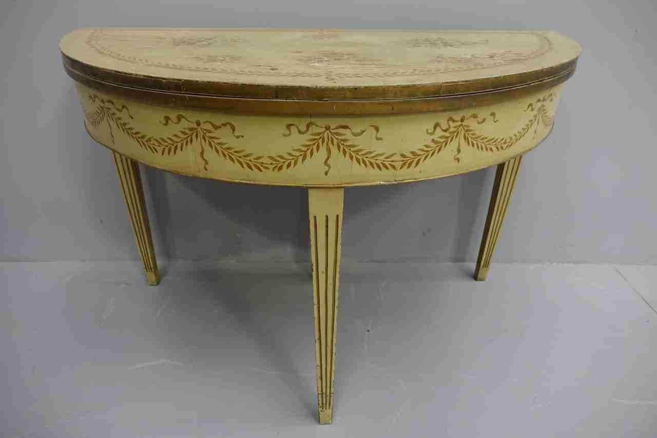 tavolo demilune laccato l.xvi