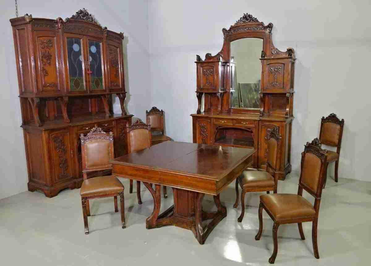 Mobili Antichi Per Sala Da Pranzo : Sala da pranzo liberty intagliata a colpi di frusta u gognabros
