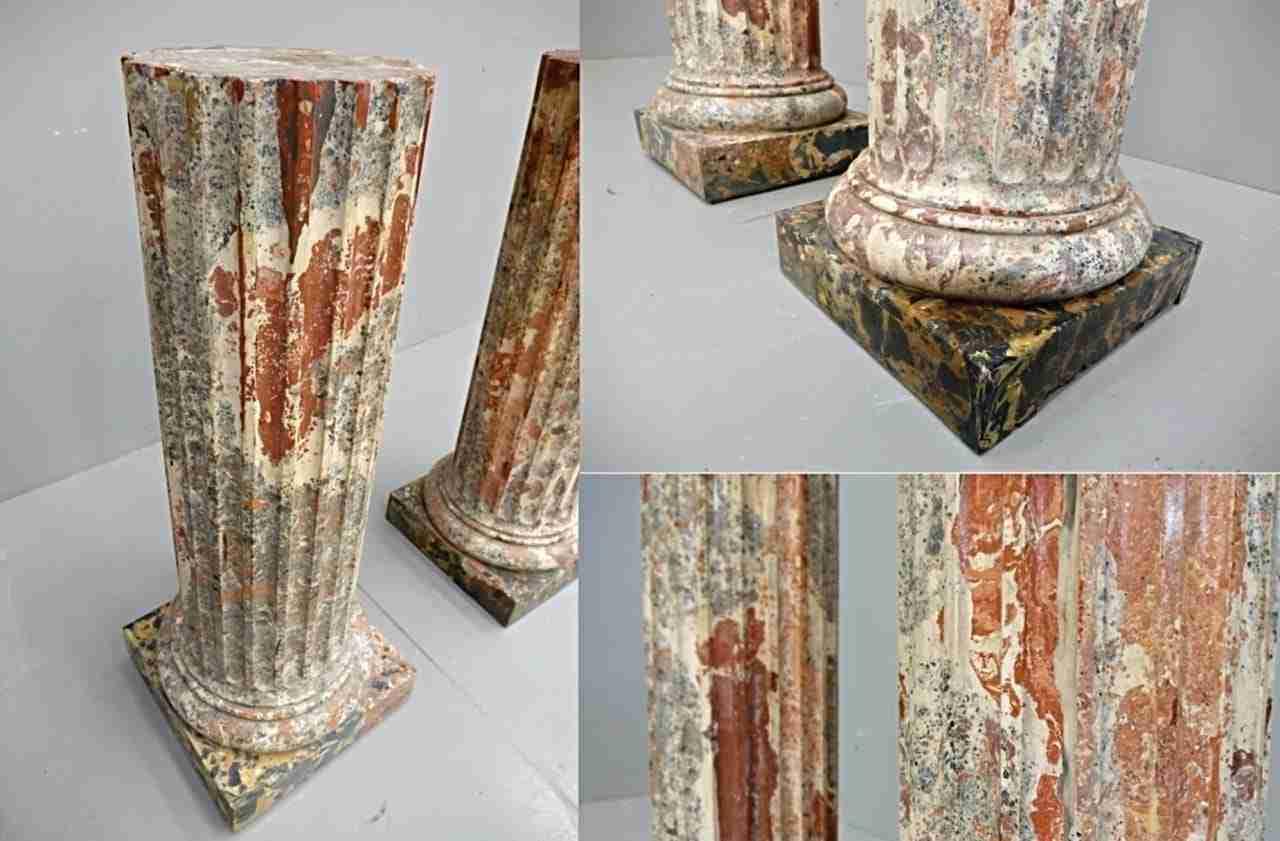 Coppia colonne marmo terracotta marmorizzata