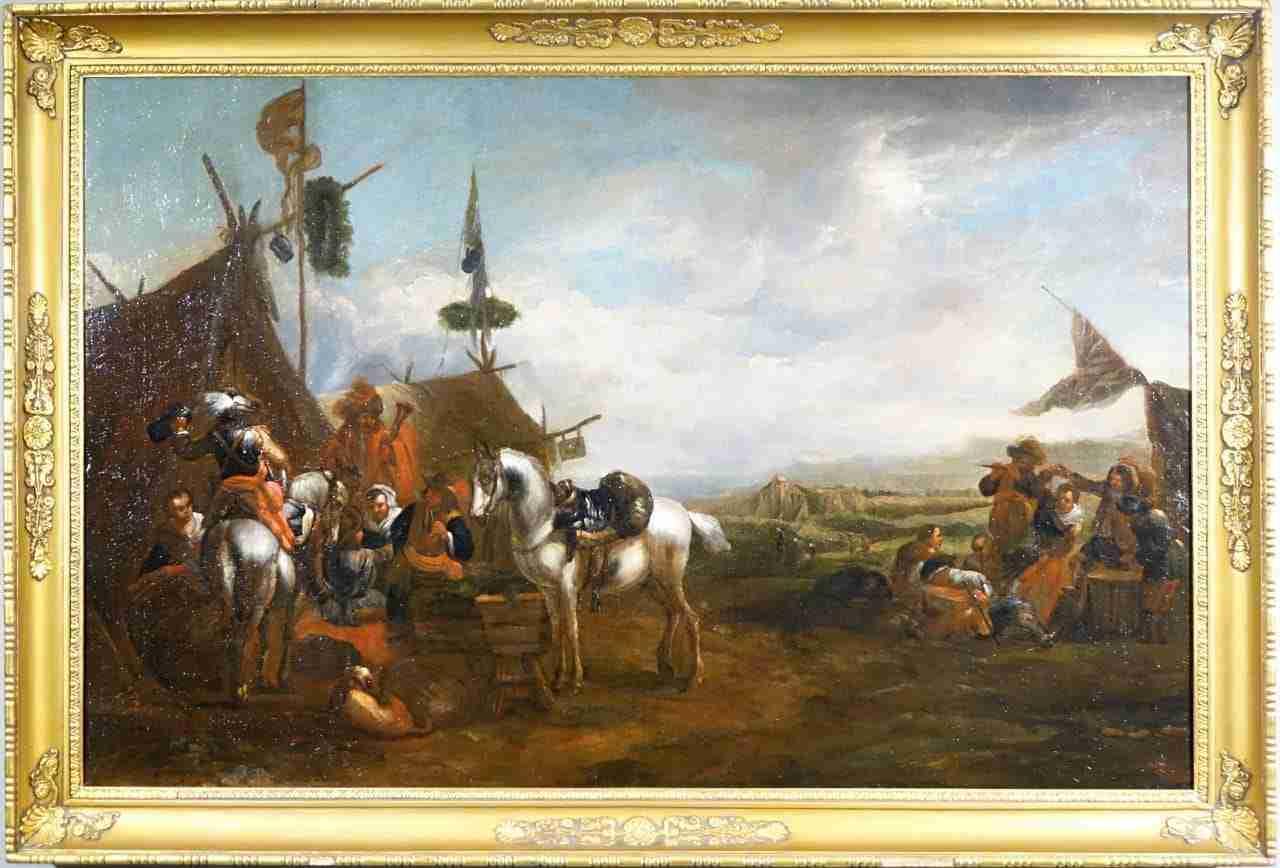 dipinto olio tela epoca 600 battaglia 0170012