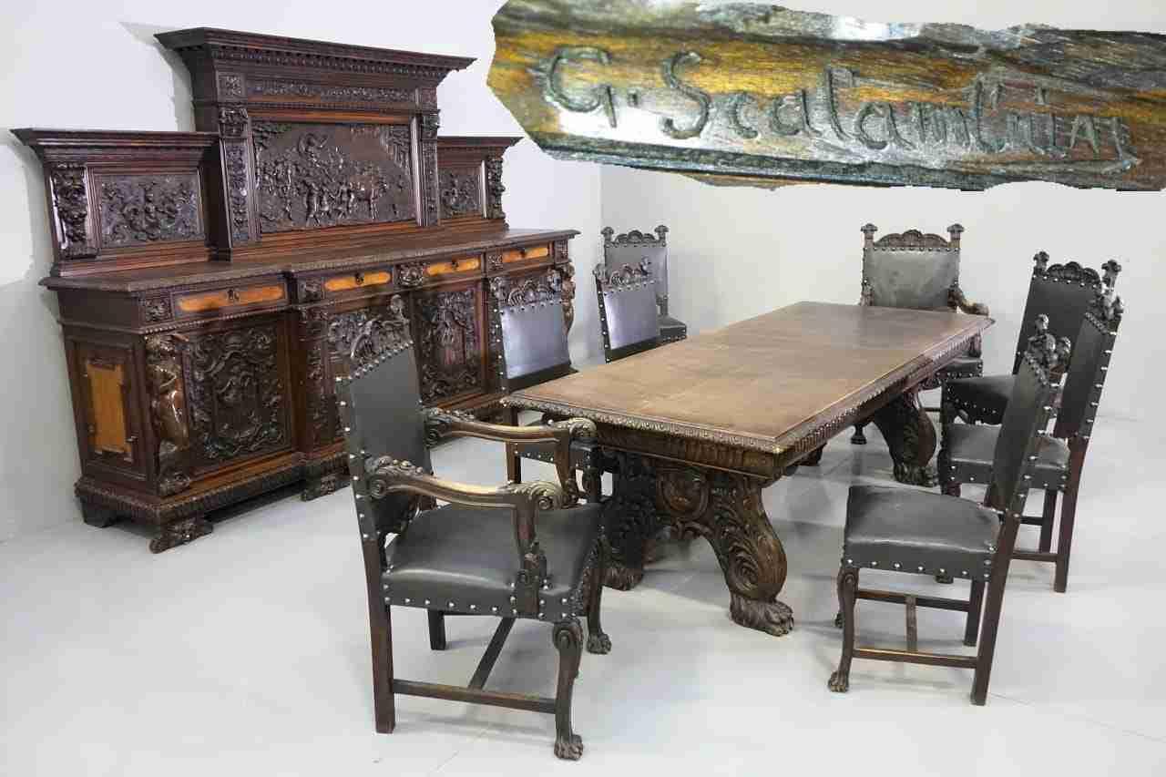 Sala Da Pranzo Scolpita Firmata G. Scalambrin 0179001 Gognabros.it #986E33 1280 853 Sala Da Pranzo Spagnolo
