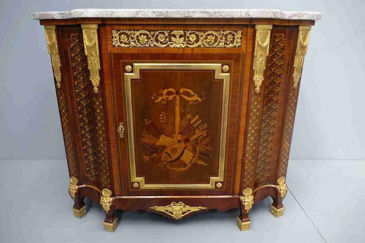 Credenza intarsiata marqueterie bronzi Linke
