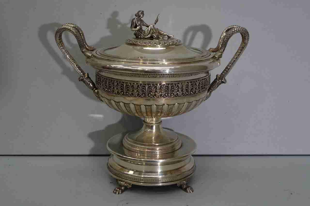 centrotavola in argento 800 punzoni fascio 1932