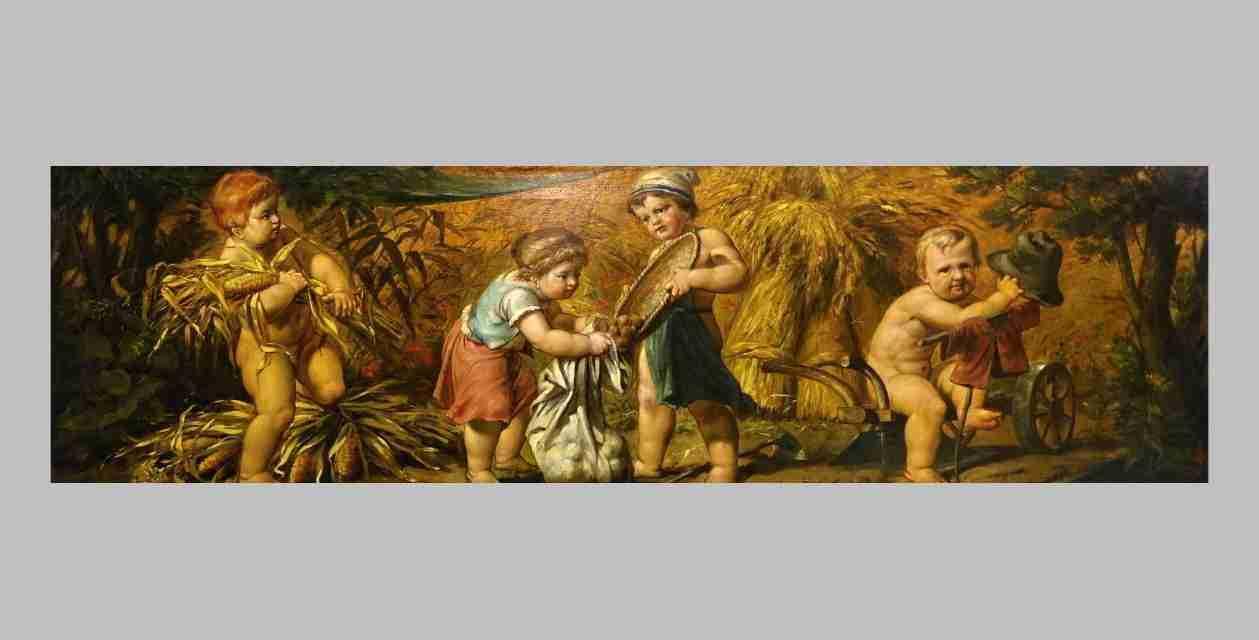Dipinto allegoria dell'estate con putti Franz Lefler 0379002