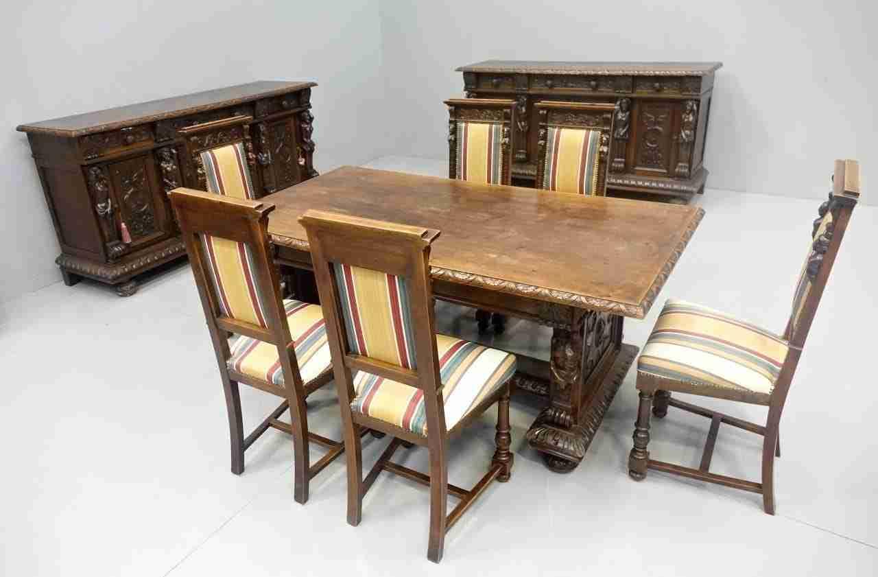 Sala da pranzo intagliata rinascimento antichita 39 0270049 - Altezza tavolo da pranzo ...
