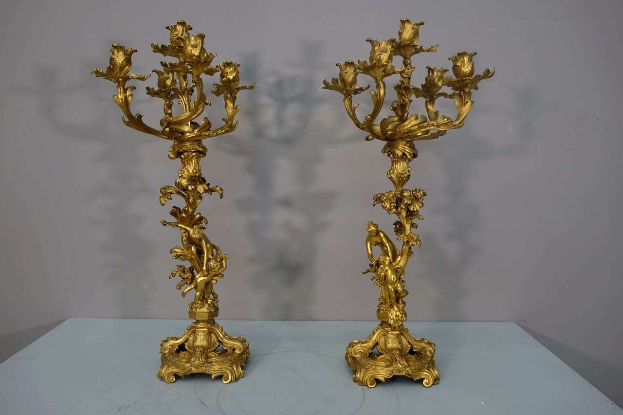 Coppia candelieri bronzo dorato