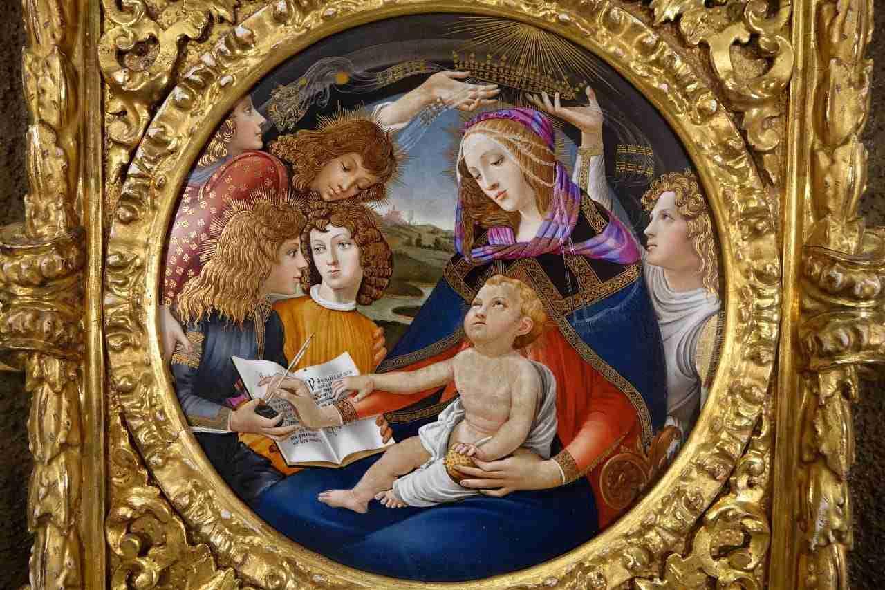dipinto su ceramica da botticelli incoronazione della vergine cornice dorata
