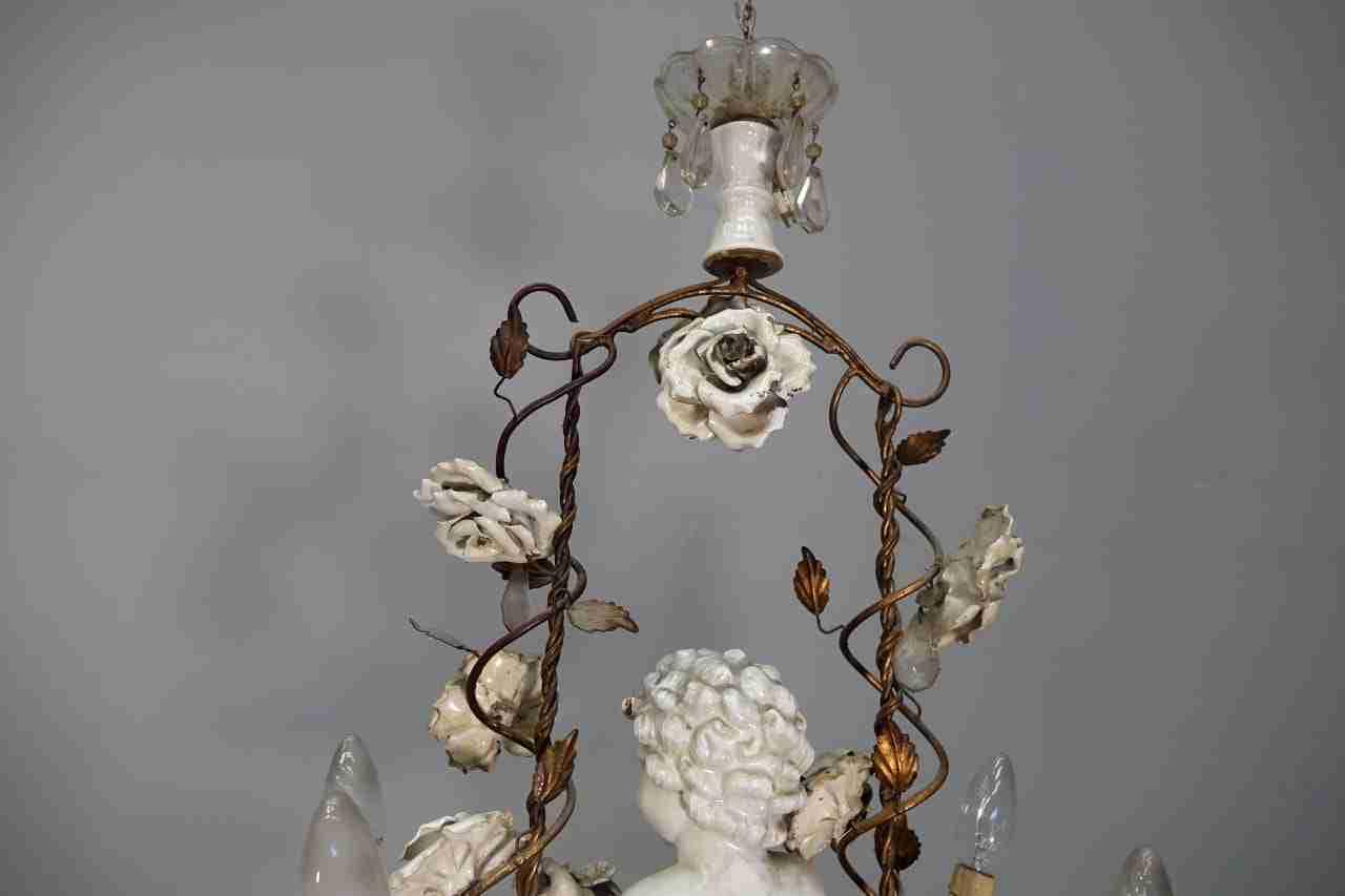 Lampadario ceramica: lampadario sospeso in ceramica filo colorato
