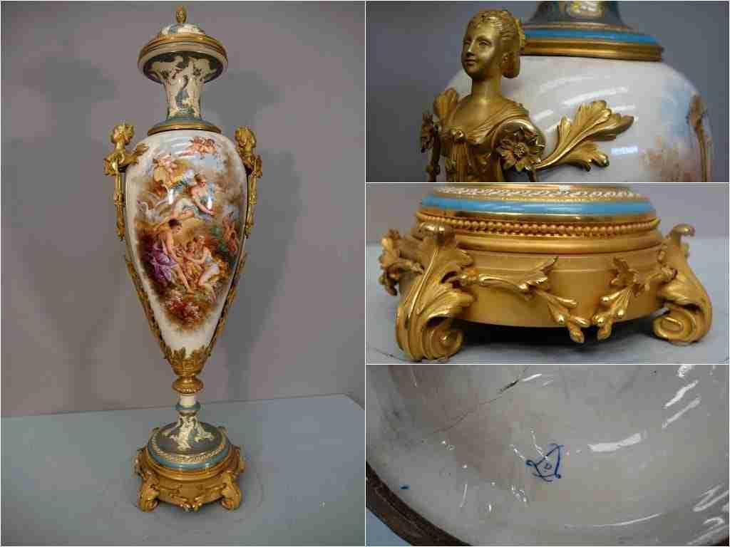 vaso in ceramica dipinta firmato sevres 0270067