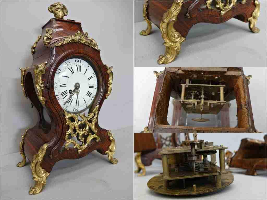 Orologio da appoggio veneziano palissandro e bronzo dorato  0570034