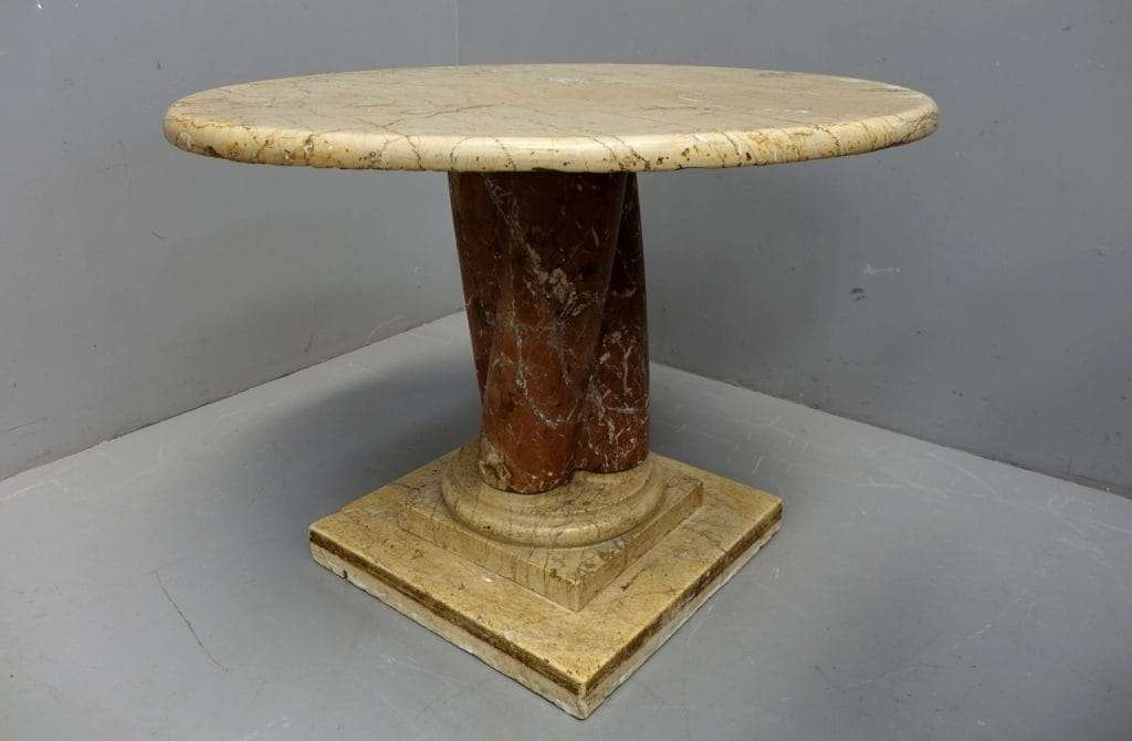 Tavolo rotondo in marmo botticino epoca 600  0617013