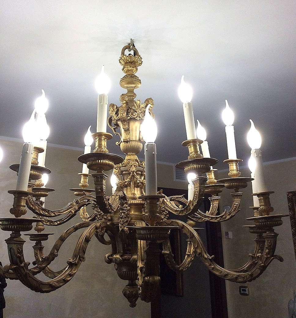 Louis XIV bronze chandelier André-Charles Boulle