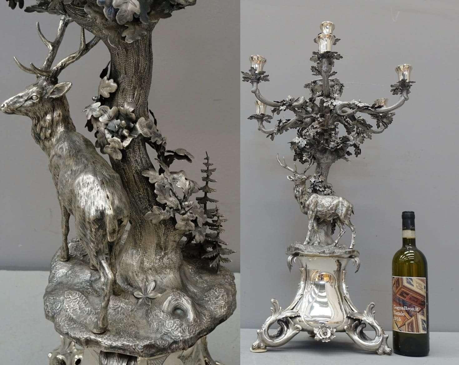 Candeliere candelabro centrotavola cervo in argento massiccio 0717019