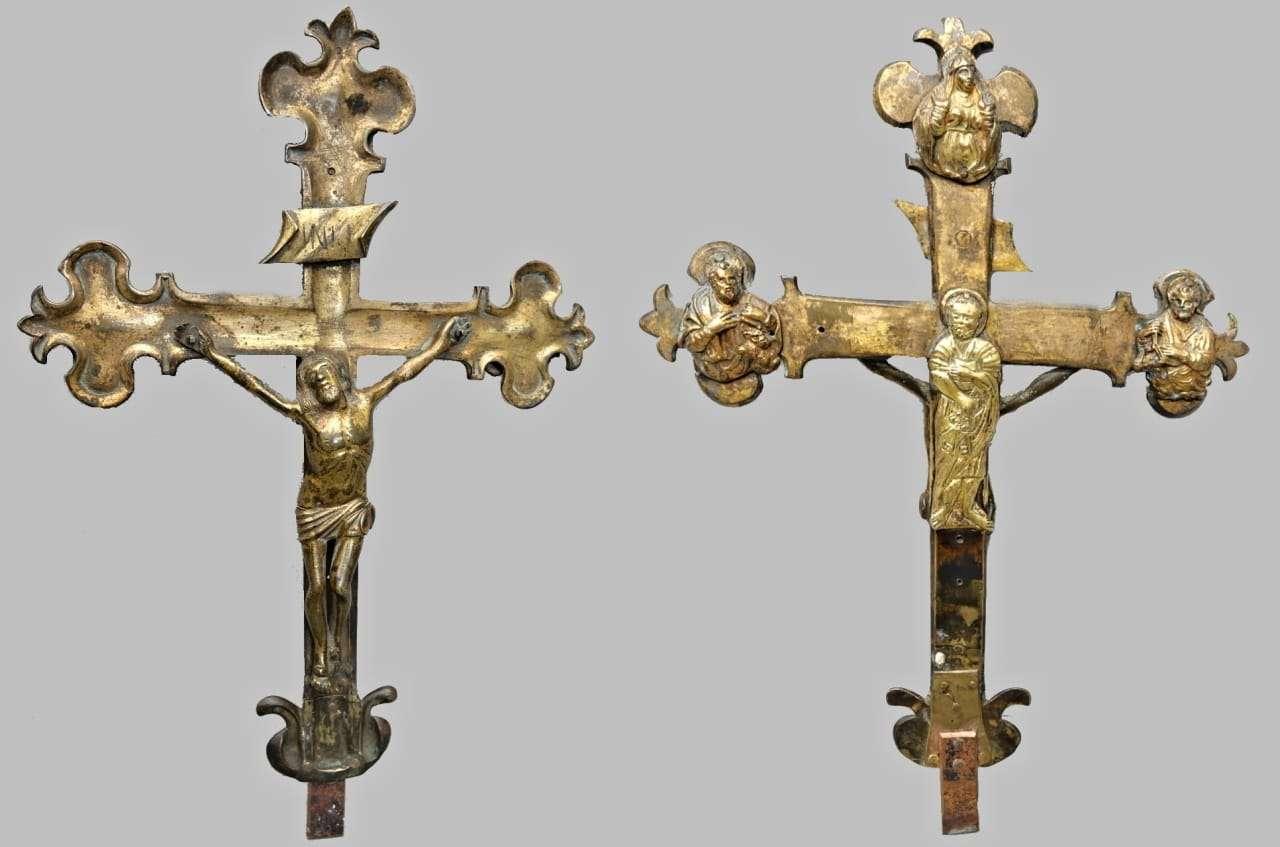 Croce astile processionale in bronzo veneto XV / XVI secolo 0717001
